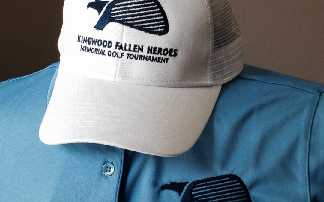 Kingwood Fallen Heroes Memorial Golf Tournament Custom Embroidery hat and shirt