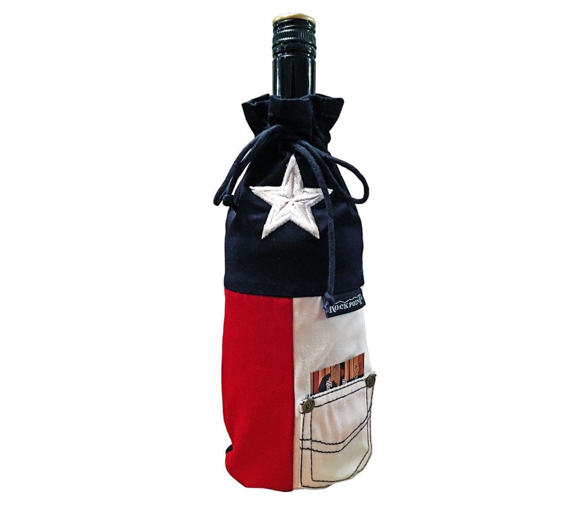 Texas Flag Embroidered Wine Bag
