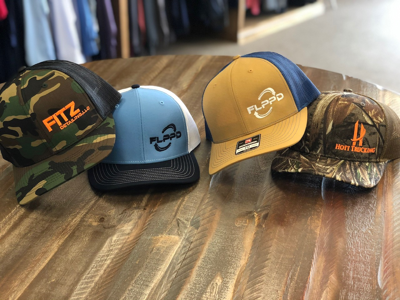Custom embroidered hats.